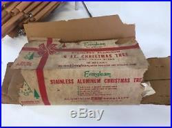 Vintage 6 Ft Silver Evergleam Aluminum Pom Pom Christmas Tree 94 Branches