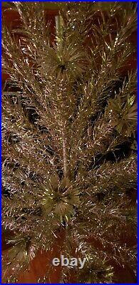 Vintage 6 Ft Silver Pom Pom Aluminum Christmas Tree