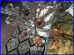 Vintage 6 Ft Silver Pom Pom Aluminum Christmas Tree Penetray Color Wheel Stand