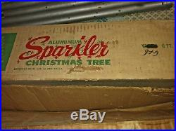 Vintage 6 Ft Sparkler Silver Aluminum Tinsel Christmas Tree