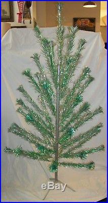 Vintage 6' Peco Green & Silver Aluminum Pom Pom Christmas Tree