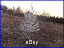 Vintage 6' Stainless Silver Aluminum Christmas Tree 55 Branches With Box & Stand
