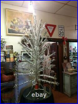 Vintage 6 ft 55 24 Branches Pom Pom Aluminum Christmas Tree w Stand Silver