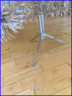 Vintage 7 Ft. POM POM SILVER ALUMINUM CHRISTMAS TREE STAND ORIGINAL