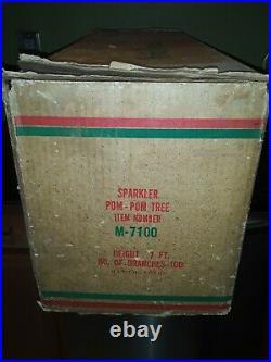 Vintage 7' SPARKLER POM POM Silver Aluminum Christmas Tree 100 BRANCHES M7100