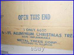 Vintage Alcoa 6 1/2' Aluminum Silver Christmas Tree complete nice Retro MCM