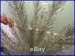 Vintage Alcoa Aluminum 6-1/2' Christmas tree 6101 Silver tinsel