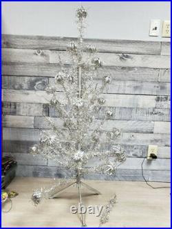 Vintage Aluminum 4 Silver POM POM Christmas Tree Retro Mid Century Modern
