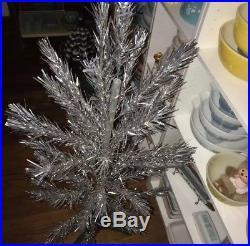 Vintage Aluminum 4 foot silver pom pom Christmas tree 41 Branches Make Offer