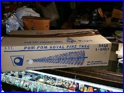 Vintage Aluminum CHRISTMAS TREE SILVER POM POM 4 FT 40 Branches circa 1960