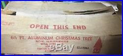 Vintage Aluminum Christmas Tree 6 1/2 foot Silver Tree, Famous Keystone Corp