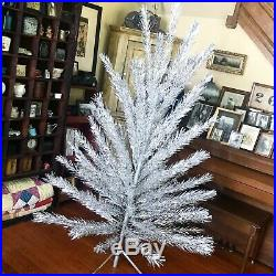 Vintage Aluminum Christmas Tree Sparkly Silver 85 Branches Folding Stand 6.5 Ft