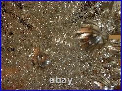Vintage Aluminum Christmas tree Silver swirl branches pom pom tips 7 ft org box
