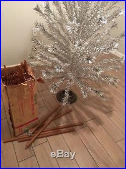 Vintage Aluminum Silver Tinsel 6 Ft. Christmas Tree with Box Evergleam