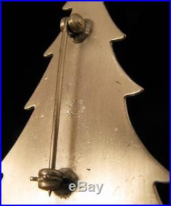 Vintage Beau Sterling Silver Enamel Christmas Tree Brooch Pin And Earring Set