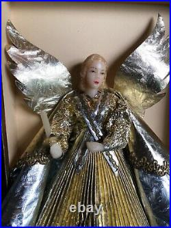 Vintage Christmas Germany Wax Face Angel Hands Tree Top GOLD SILVER FOIL PAPER