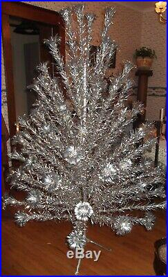 Vintage Christmas SILVER FOREST 6.5 ft. Aluminum Pom Pom Tree 81 Branches