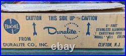 Vintage Duralite Aluminum Silver Mid Century Christmas Tree Minimalist 6 Foot