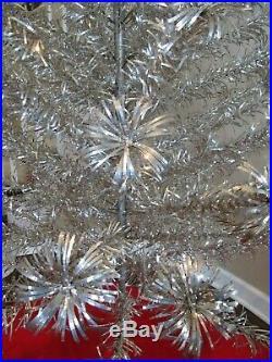 Vintage Duralite Pom Pom Silver Aluminum Christmas Tree 110+ Branches 6 1/2 Tall