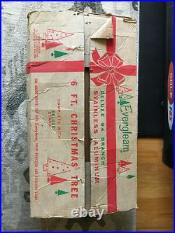 Vintage Evergleam 4906 6 Ft 94 Branch Pom Pom Aluminum-Silver Christmas Tree
