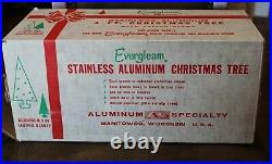 Vintage Evergleam Fountain Stainless Aluminum 4' Tree With Box 58 branches Nice