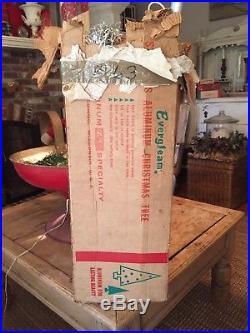Vintage Evergleam Silver Aluminum 7 ft 100 branch Christmas Tree Original Box
