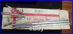 Vintage Evergleam Silver Aluminum Pom-Pom Christmas Tree 8' Ft 121 Branch 4708
