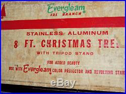 Vintage Evergleam Silver Aluminum Pom-Pom Christmas Tree 8' Ft 121 Branch LOOK