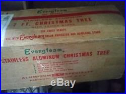 Vintage Evergleam Silver Stainless Aluminum Christmas Tree 7' Ft 100 Branch