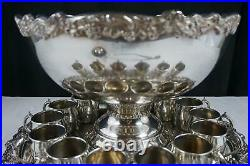 Vintage F. B. Rogers Silver Company Punch Bowl Set Silverplate