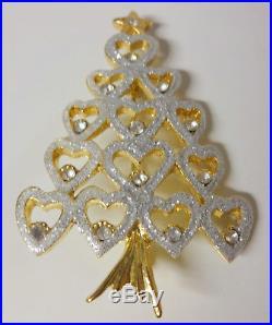 Vintage Hearts of Love Christmas Tree Silver Glitter Enamel Pin Brooch NICE