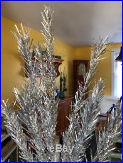 Vintage MCM Midcentury Evergleam Atomic Silver Aluminum 6' Christmas Tree