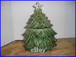Vintage McCoy USA Pottery Christmas Tree Cookie Jar with Silver Star and Trim