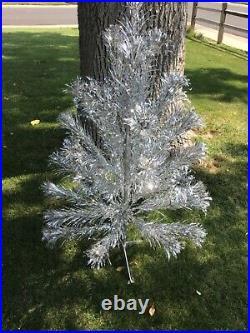 Vintage Mid-century Modern 4 Ft. Aluminum Silver Pom-pom Christmas Tree