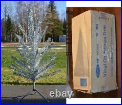 Vintage NOMA 1960s Silver VINYL CHRISTMAS TREE 48 4 feet CANADA 44/46 branches