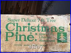 Vintage PECO 7 FT Aluminum Silver Christmas Tree Pom Pom Tinsel Original 3728