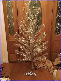 Vintage Peco Aluminum Silver Christmas Tree 5ft. 8in with Stand & Original Box