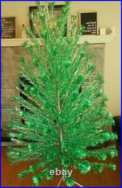 Vintage Peco Deluxe 6Ft 8 In Christmas Pine Tree Green & Silver Aluminum Pom Pom