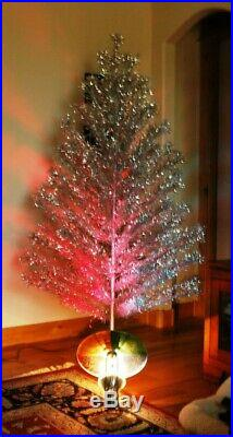 Vintage Peco Silver Aluminum 5'8 Deluxe Christmas Pine Tree & Stand & Light USA