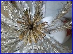 Vintage Peco Silver Sparkling Aluminum Christmas Tree 7 Feet 151 Branches