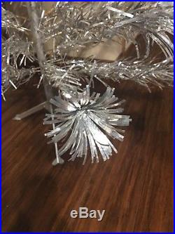 Vintage Pom-Pom 4' Ft Silver Aluminum Christmas Tree 100% Complete