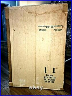 Vintage Pom Pom Aluminum Silver Tinsel Christmas Tree 105 Branches Box