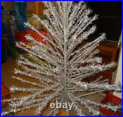 Vintage SILVER 6 Foot Christmas Tree 108 Branches with Base