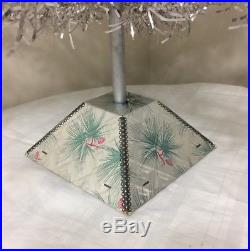 Vintage Silver Aluminum 4 Foot Christmas Tree 4' Pom Pom Silver Forest WithBase