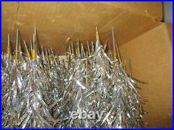 Vintage Silver Aluminum 7 1/2 Foot Feet Christmas Tree Pom Pom 100 Branches