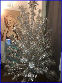 Vintage Silver Aluminum Christmas Tree 7 Pom Pom Evergleam Mcm Mid Century 100