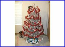 Vintage Silver Christmas Tree 6 Ft with 94 Branches Ornaments and color wheel