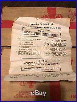 Vintage Silver Evergleam 7 Ft. Stainless Aluminum Christmas Tree 100 Pom Poms