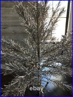 Vintage Silver Glow 4 1/2' Aluminum Christmas Tree No Box