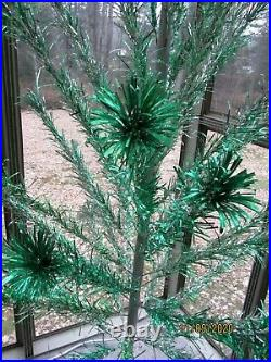 Vintage Silver / Green Aluminum Peco 6 Ft Christmas Tree in Box 42 / 46 Branches